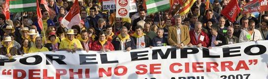 Manifestación contra el cierre de Delphi en Sevilla