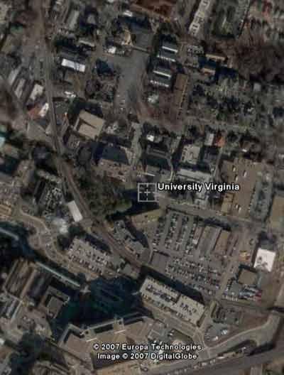 Vista aérea de la universidad de Virginia, EEUU