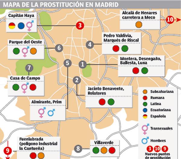 Distribución de la prostitución en Madrid