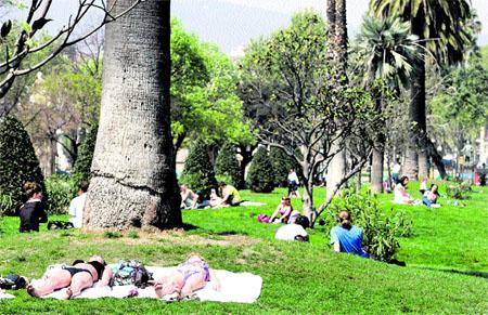 Tomando el sol en el parque de la Ciutadella