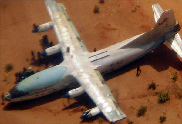 Uno de los aviones que transportaban armas, según la ONU.