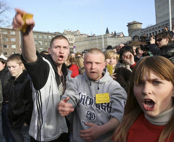 Manifestantes rusos