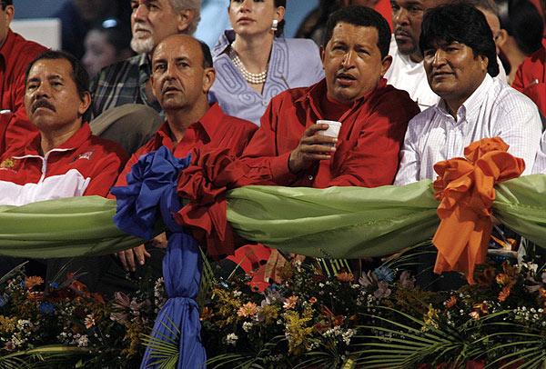 Morales y Chávez con Ortega en la Cumbre del ALBA