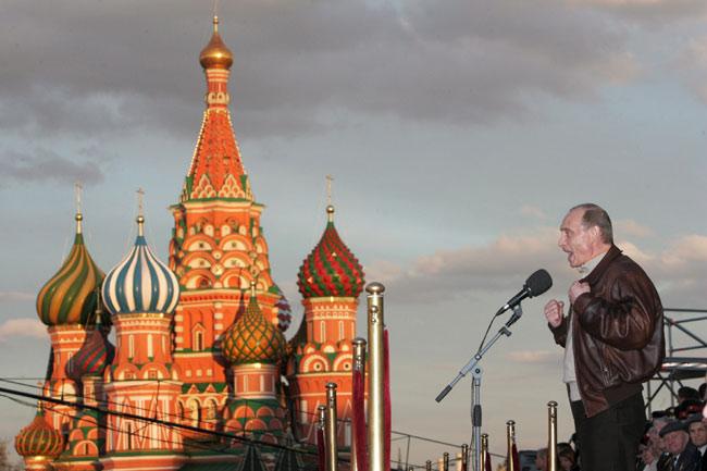 Putin, ayer, durante el discurso de conmemoración de la victoria soviértica sobre la Alemania Nazi
