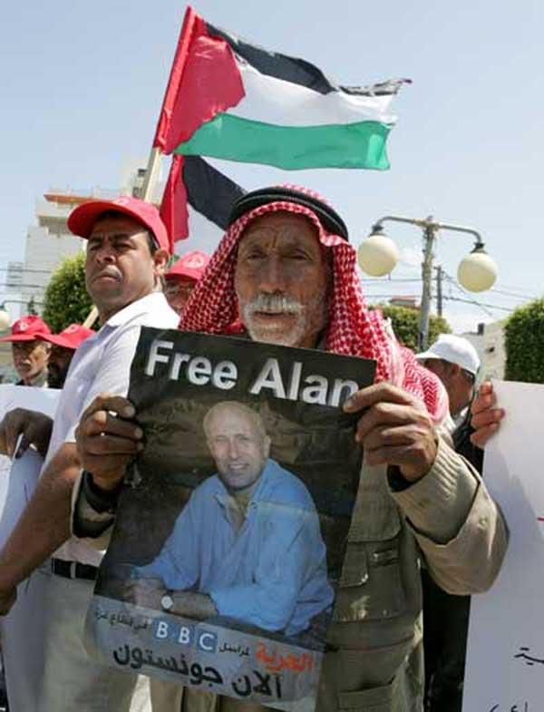 Un palestino pide la liberación del periodista