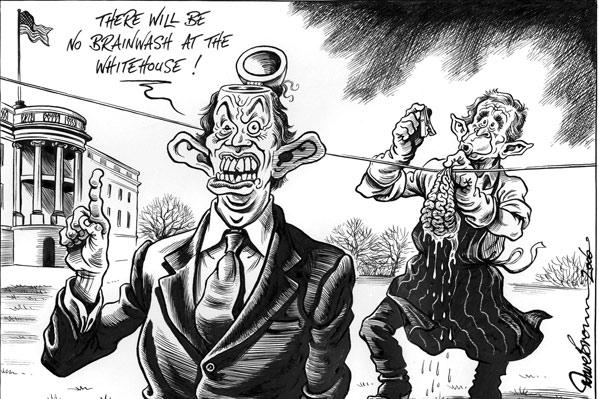 Caricatura de Blair y Bush (Efe)