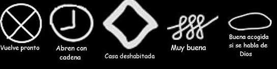 Los diferentes símbolos que utilizan los ladrones para pasarse información sobre las casas.