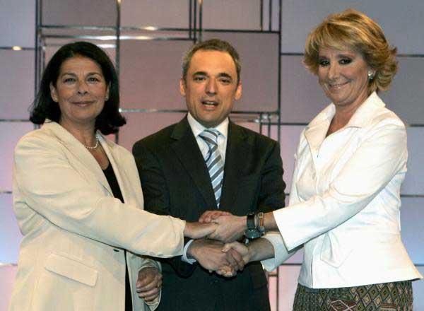 Sabanés, Simancas y Aguirre, en el plató del debate.