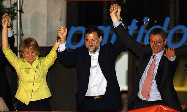 Aguirre y Gallardón con Mariano Rajoy