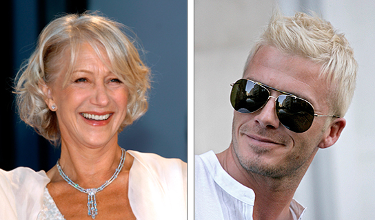 Helen Mirren y David Beckham