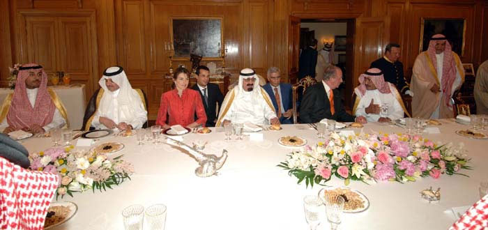 Fotografía de la cena entre los reyes de España y el rey de Arabia Saudi