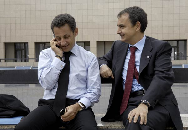 Zapatero y Sarkozy en Bruselas