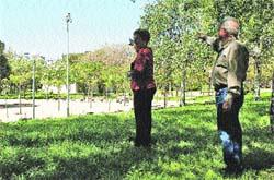 Vecinos señalan las cámaras de vigilancia en el parque Lo Morant. (F. González)
