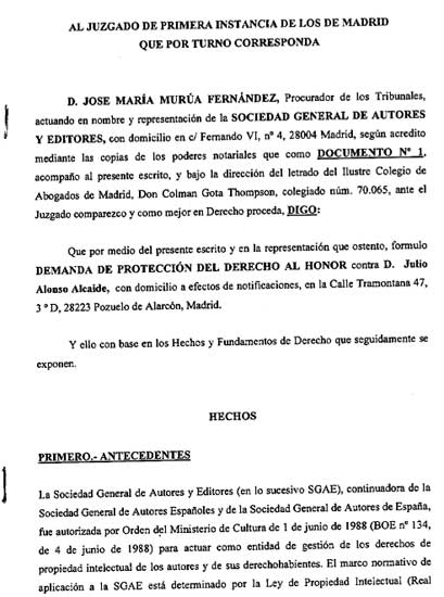 P gina 14 admitida a tr mite la demanda de la sgae for Consulta demanda de empleo
