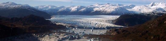 El lago Témpanos, en la región de Magallanes, a unos dos mil kilómetros al sur de Santiago de Chile.