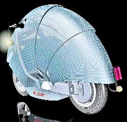 Una moto solar con su propio caparazón