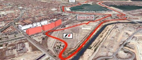 Trazado del circuito de Fórmula 1 en Valencia