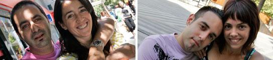 De iz a d: Severiano y Yolanda, casados por la Iglesia, y Myriam y Miguel Ángel, que se casarán por lo civil