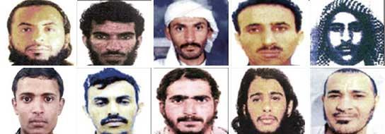 Presuntos terroristas del atentado de Yemen