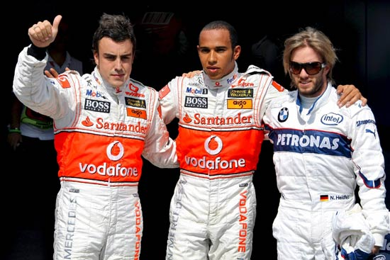 Alonso, Hamilton y Heidfeld.