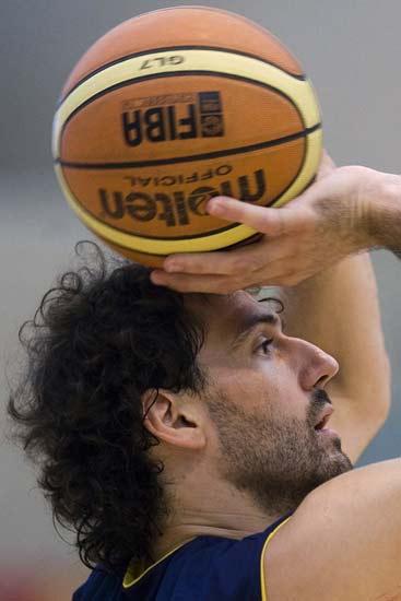 Jorge Garbajosa, en un entrenamiento con la selección española