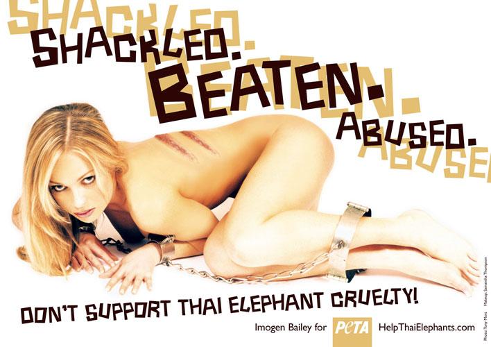 Imogen Bailey, tailandia. La modelo australiana y cantante Imogen Bailey, posa desnuda, encadenada y con heridas de latigazos para denunciar el maltrato que sufren las crías de elefante a causa de la industria turística en Tailandia.