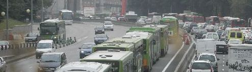 Atasco en la carretera de A Coruña a su entrada en Moncloa
