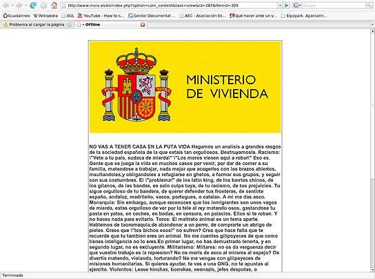 Hackeada la web del ministerio de vivienda for Ministerio de seguridad espana