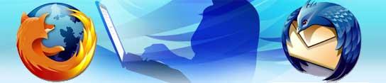 El logo de Firefox (izquierda) y el de Thunderbird (derecha).