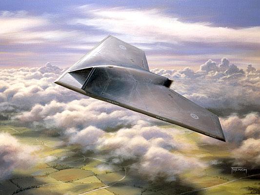240907 Avión espía. Fantasma del aire. Ilustración de como será el nuevo avión militar Taranis, desarrollado por la empresa BAE Systems y que ha comenzado a ser construido para las Fuerzas Aéreas británicas. Los primeros vuelos de prueba están programados para el año 2010.