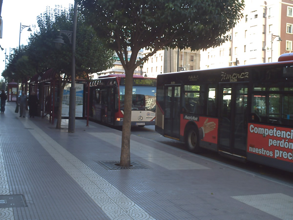 Autobuses en el centro de Logroño.