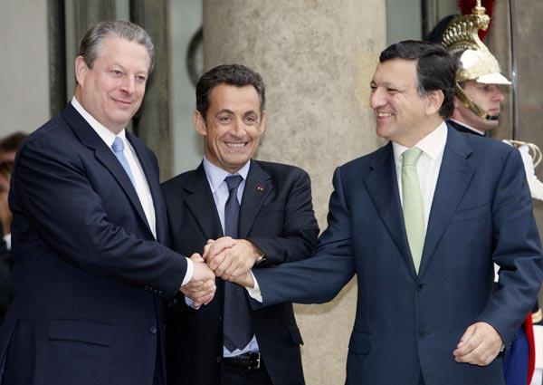 Al Gore, Nicolas Sarkozy y José Manuel Durao Barroso