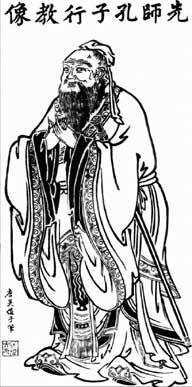 Grabado que representa a Confucio