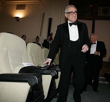 Presentación del Anuncio de Freixenet. Scorsese coge sitio para la proyección de su trabajo.