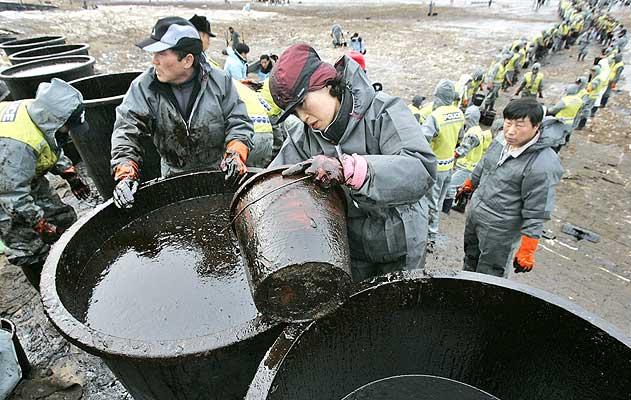 Vertido en Corea. Vecinos y agentes en las labores de limpieza de la playa surcoreana de Mallipo. La tragedia comenzó cuando un buque cisterna registrado en Hong-Kong comenzó a filtrar unas 10.500 toneladas de crudo el viernes pasado, después de chocar contra una barcaza que transportaba una grúa en el puerto de Daesan, a unos 110 kilómetros al suroeste de Seúl.