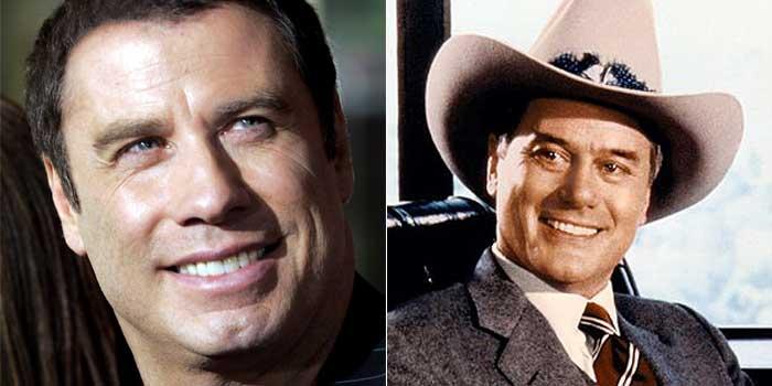 Los actores John Travolta y Larry Hagman.