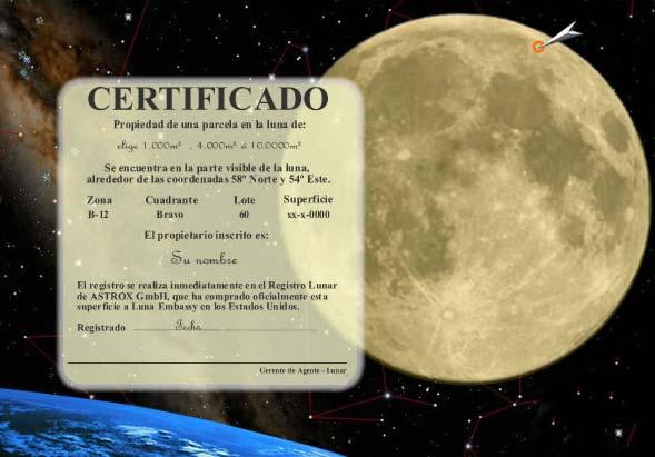 Certificado de propiedad lunar