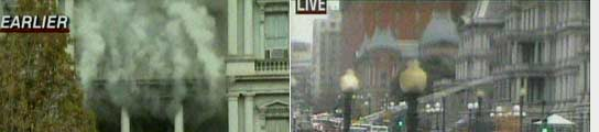 Imágenes del humo que ha desatado la alarma en Washington y que proviene de un edificio adjunto al Ala Oeste de la Casa Blanca(CNN)
