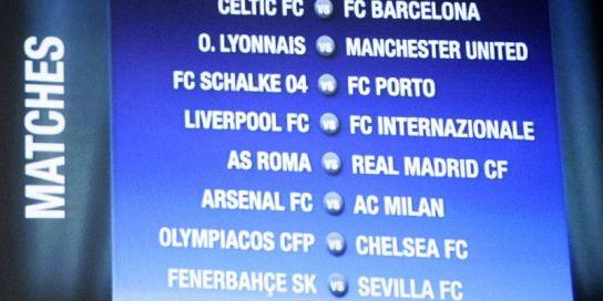 Emparejamientos de octavos de la Champions League.