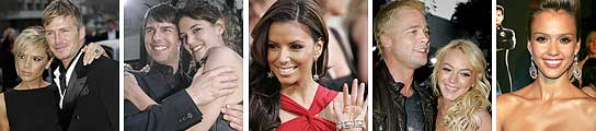 El matrimonio Beckham, Tom Cruise y Katie Holmes, Eva Longoria, Brad Pitt y Lindsay Lohan y Jessica Alba