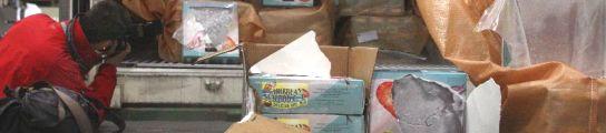 Unas 9,4 toneladas de cocaína en un contenedor frigorífico cargado con 24 toneladas de pulpo congelado, en el Puerto de Lisboeta. En la incautación colaboraron las policías lusa y española. ANTONIO COTRIM / EFE