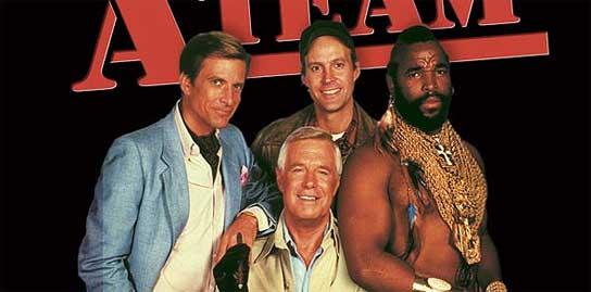 Los cuatro protagonistas de la serie de televisión 'El Equipo A'.