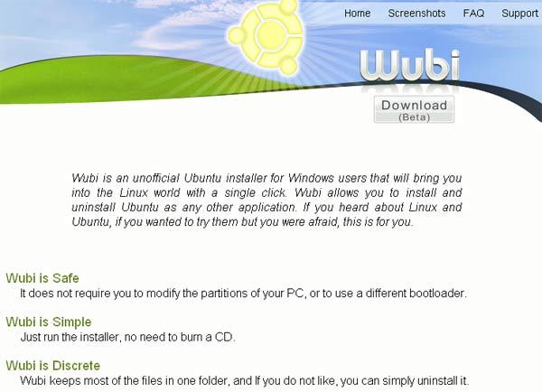 Página web de Wubi