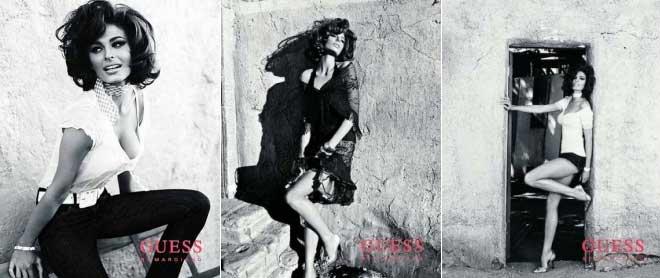 Tres imagenes de la modelo Line Gost, fotografiada por Bryan Adams, en la campaña de primavera de Guess.