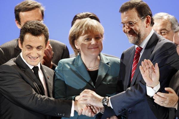 Sarkozy, Merkel y Rajoy