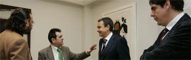 De izda a dcha: F. Frechoso, A. Escolar, Zapatero y J. C. Escudier.