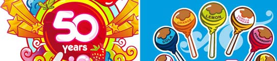 Dos logos del famoso caramelo