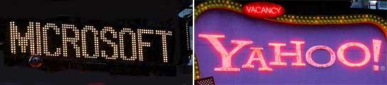 Un curioso juego de luminosos con el nombre de las dos empresas.