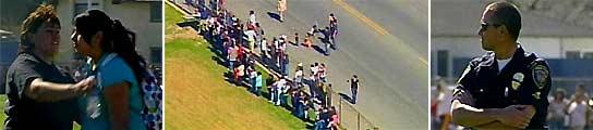 Los estudiantes del instituto salieron del centro tras el tiroteo mientras el suceso era investigado por la policía. (Fotos: KNBC)