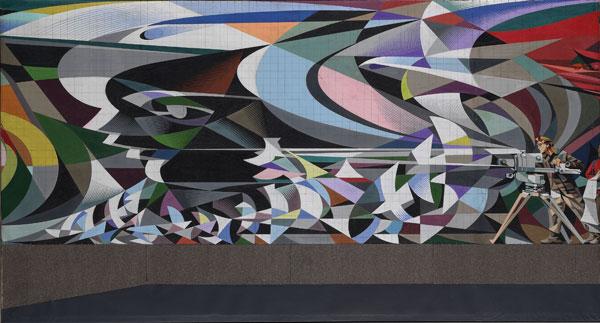 Josep Renau 8. Renau. La marcha de la juventud hacia el futuro (Boceto 9A), Acrílico sobre papel y madera. 1974.